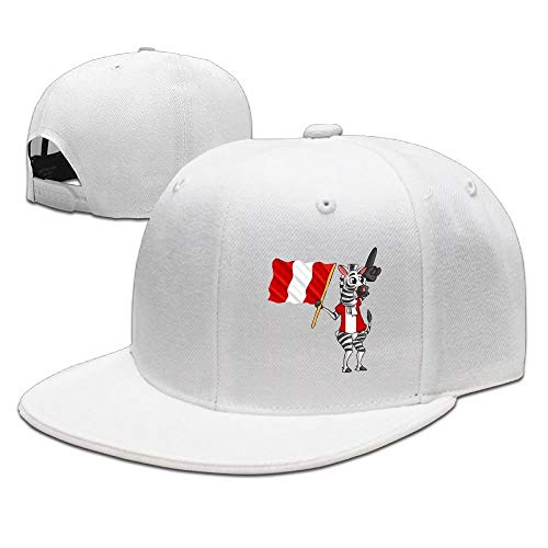 VTXINS Zebra Holding The Peru Flag Snapback Adjustable Flat Bill Baseball Cap Peru Hat Earflap