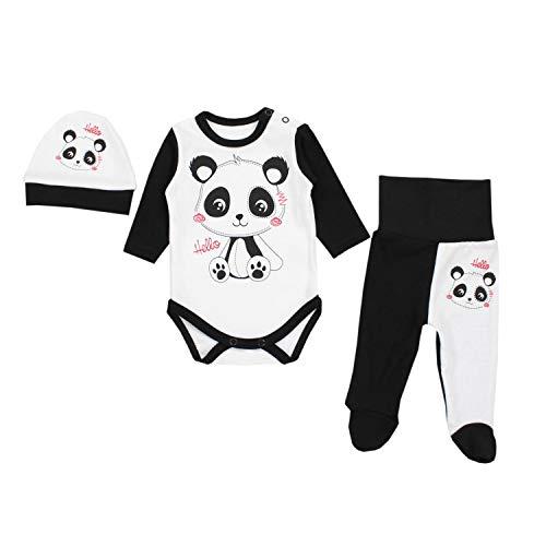 Schwarz-strampler (TupTam Baby Unisex Bekleidungsset mit Aufdruck 3 TLG, Farbe: Panda Weiß/Schwarz, Größe: 56)