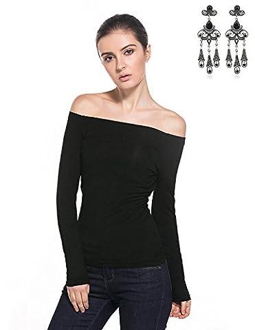 Modetrend Femmes Élégant T-shirt Manches Longues Col Bateau Haut Tops Chemise Pullover