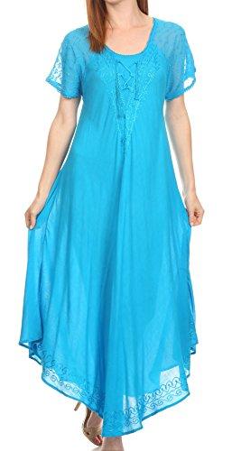 Foto de Sakkas 16602 -Vestido / Cobertor caftan largo con manga corta con encaje bordado Shasta-Verde azulado-OS