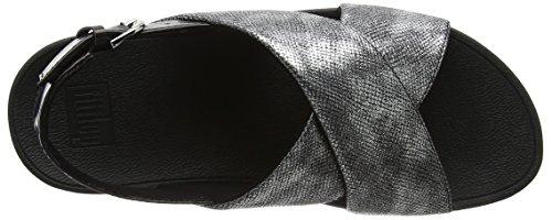 FitFlop Damen Lulu Cross Back-Strap Sandals Shimmer Peeptoe Black (Black Shimmer-Print)