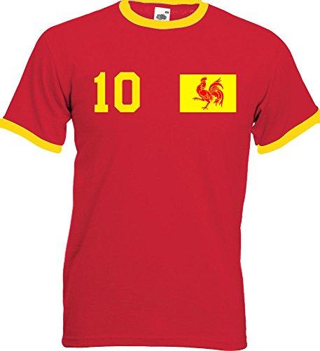 WM Belgien Belgium Herren T-Shirt Beidseitig Bedruckt mit Wunschname & Zahl, Rot, Gr. XL