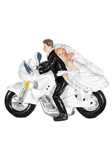 Unbekannt Partydeco Envases Decoración Sposi de Acrílico, Blanco y Negro - Decoración de Resina con Acoplamiento en Motocicleta - Medidas: 16 X 12CM - Para la Decoración de Tartas