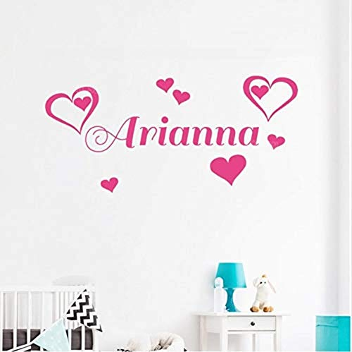 Wall Stickercustom Name Double Heart Wall Stickers Bedroom Hipster Cute Children'S Room Decoration Girl Kindergarten Wall Decal Personality Decal Z286 58X27Cm