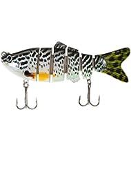 Lixada - 10cm/20g Señuelo de Pesca Realista de 6 Segmentos, Cebo con Gancho Swimbait Curricán