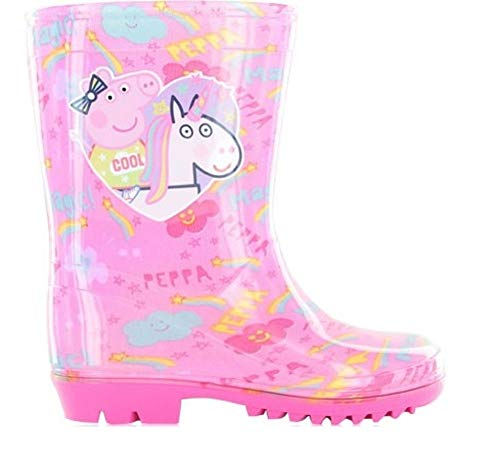 GladRags Girls Kids Peppa Pig Wellies Wellington Boots Rain Shoe Official Ankle Length Size 5 6 7 8 9 10