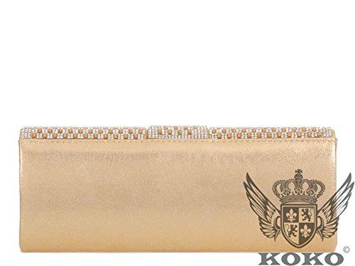 Haute For Diva S Nuove Signore Collana In Argento Oro Con Diamanti Set Da Sera Borsa Da Aviatore Borsa - Argento, Oro Piccolo