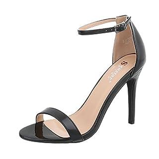 Ital-Design High Heel Sandaletten Damen-Schuhe High Heel Sandaletten Pfennig-/Stilettoabsatz High Heels Schnalle Sandalen & Sandaletten Schwarz, Gr 38, Zj-16P-