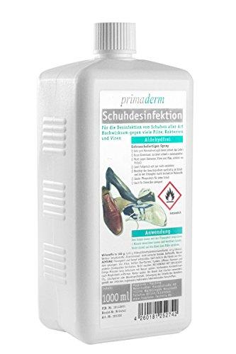Primaderm Schuhdesinfektion aldehydfrei, 1 Liter plus Profi Sprühkopf, Desinfektionsmittel gegen Pilze, Bakterien und Viren in Schuhen