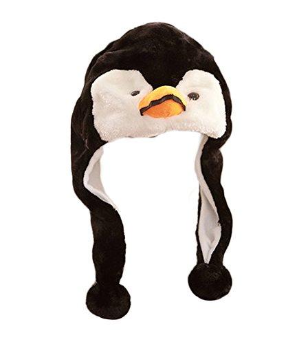 Mädchen Kinder Winter Warm Plüsch Tier Ohrenschützer Hüte Mützen Weihnachten Halloween Kostüm Geschenk Pinguin (Pinguin Hut)