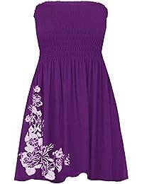 Janisramone para mujer señoras nuevo flores diamantes brillantina Print Bandeau Boobtube Sheering Swing Mini vestido Top