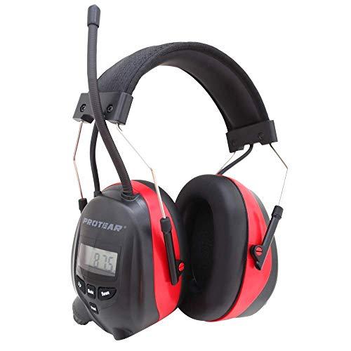 Protear Casque Anti Bruit Radio Bluetooth, Pile au Lithium Rechargeable intégrée et Microphone, Protecteurs d'oreilles pour Atelier, Jardin/Tonte, Tracteurs, Certifié SNR 30dB CE