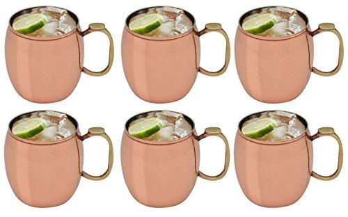 Preisvergleich Produktbild Rink Drink Moskau Muli Kupfer Russischer Cocktail-Becher,  Daumenabdruck Design,  590 ml x24