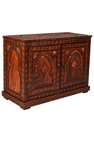 Orientalische Kommode Sideboard Schadday 92cm Braun | Orient Vintage Kommodenschrank orientalisch Handverziert | Indische Landhaus Anrichte aus Holz | Asiatische Möbel aus Indien