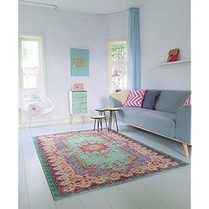 Rozenkelim Vintage Teppich   Shabby Chic Look Teppichläufer für Wohnzimmer, Schlafzimmer und Flur   70% Polypropylen, 30% Baumwolle (Pastell, 180cm x 120cm, 8 mm hoch)