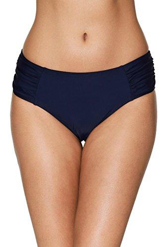 Charmleaks Damen Bikinihose Falten mit Hoher Taille Badehose Basic Dunkelblau M