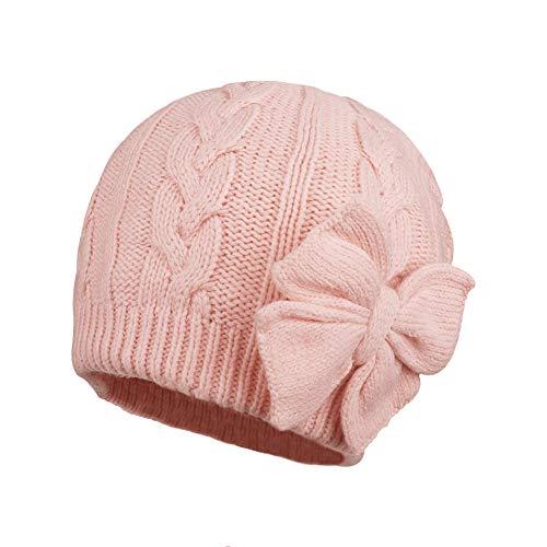 JOYORUN Unisex - Baby Mütze Beanie Strickmütze Unifarbe Wintermütze (49-52cm Kopfumfang, Rosa-4)