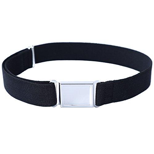 Kajeer Gürtel für Jungen Mädchen Verstellbar - Großer Elastischer Stretchgürtel mit einfacher Magnetschnalle für 2-15 jährige Jungen und Mädchen (Schwarz) -