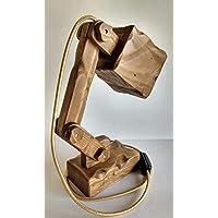 Lámpara flexo rústica de madera reciclada de palet hecho a mano