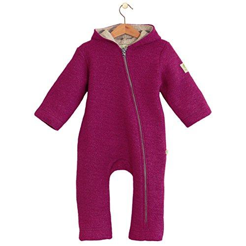 bubble.kid berlin - Unisex Baby Mädchen Herbst Winter Anzug Overall Einteiler Anu Soft Walk Wolle, Größe 86/92 (1 bis 2 Jahre), Farbe: Granat