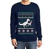 Shirtgeil Regalo di Natale T-Rex vs. Renna Ugly Sweater Felpa/Maglione da Uomo Large Navy