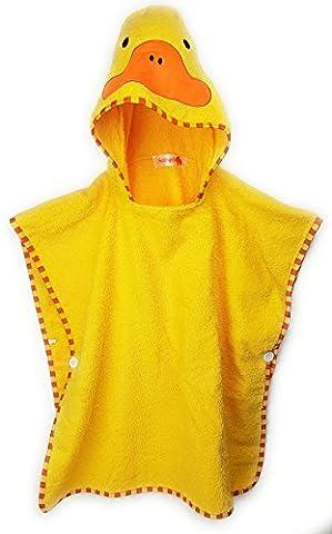 SCHLUPFI Premium Kinder Badeponcho für Jungen und Mädchen aus Baumwolle (dickes Frottee) mit Kapuze (Kapuzenhandtuch) | Tierhandtuch Ente in gelb