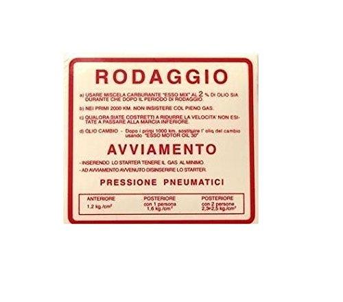 ADESIVO RODAGGIO ROSSA 2 VESPA 50 R L N SPECIAL 125 ET3 PRIMAVERA