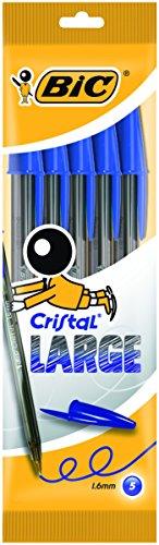 Bic - Cristal Large - Pochette de 5 Stylos-billes - Bleu