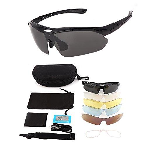 Sportbrille Motorradbrille Sonnenbrille Reiten Sportsonnenbrille Radbrille Goggles mit 5 Wechselbare Linsen Outdoor Sport Brille Ideal für Laufen Fahren Fahrrad Golf Angeln Wandern Gläser