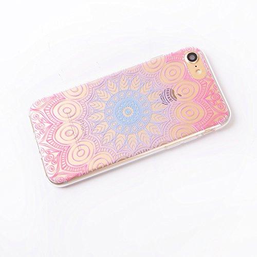 Beiuns pour Apple iPhone 7 (4,7 pouces) Coque en Silicone TPU Housse Coque - TU116 Fleurs de cerisier TTU115 Fleur Mandala