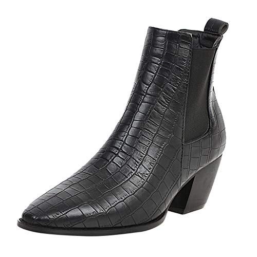 SSUPLYMY Faux Crocodile Pattern Boots Women Fashion Boots Square Heels Boots Slip-on Pointed Toe Low Boots Wedges Boots Rain Boots Pointed Solid Colors Gothic Boots