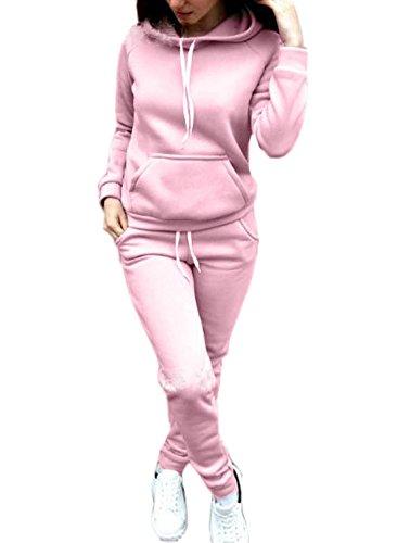 Donna Tuta Sport Manica Lunga Felpa con Cappuccio Pantaloni 2 Pezzi Casual Jogging Pullover Hoodie+Pantaloni Rosa