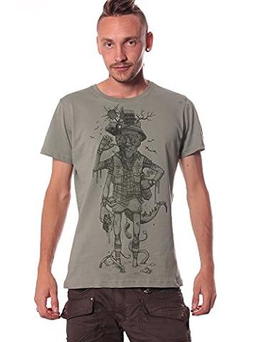 T-Shirt Gris pour Homme Coton et Col Rond - Motif original type Las Vegas Parano - Look Hipster - Taille L