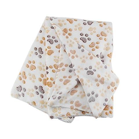 Hrph Mignon Floral Pet Chaud Paw Print Dog Puppy Fleece Blanket Souple Mat de Lit