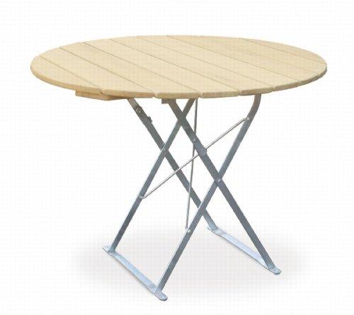 Table de terrasse ronde cm, ø 90 cm-edition euroLiving naturel en acier galvanisé
