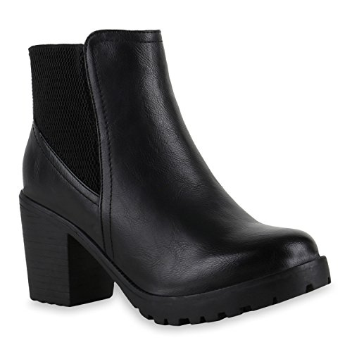 Ankle Boots Damen Profil Sohle Stiefeletten Block Absatz Schwarz