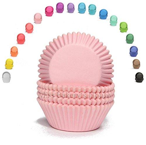 Miss Bakery's House® Mini Muffinförmchen Standard - Ø 32 mm x 20 mm - Rosa - 200 Stück Papier Muffin