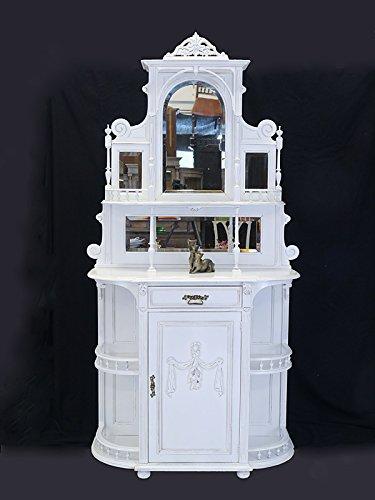 Antike Fundgrube Vertiko Zierschrank Etagerenschrank Jugendstil um 1900 Shabby Chic weiß (6693)