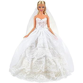 97b128c3901 Miunana Robe de Mariage Blanche en Dentelle Mode Princesse Pour La Poupée  Barbie