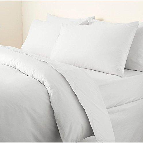 Uni Bettbezug mit Kissen Bügelfreies Bettlaken Perkal Bettbezug Betten Schlafzimmer Set, Weiß, King Size (King-size-bett Kissen)