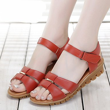 RUGAI-UE Donne sandali PU Scarpe Casual Comfort Zeppa,Black,US5 / EU35 / UK3 / CN34 Red