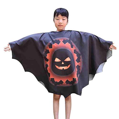 (TEBAISE Lustige Kinder Halloween Laterne Gesicht Kürbis Kostüm Shirt Kleinkind Kinder Baby Mädchen Halloween Kleid und Fledermaus Flügel Outfit(Schwarz,Freie GRÖSSE))
