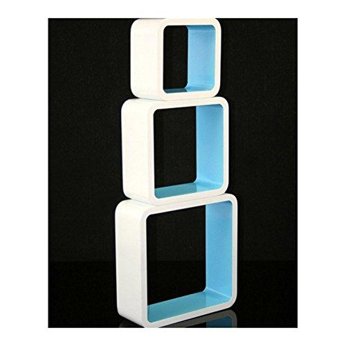 3 étagères cubes murales en MDF blanc-bleu rangement ETA06061