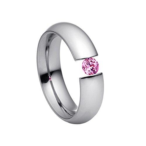 Heideman Ring Damen Intensio aus Edelstahl Silber farbend poliert Damenring für Frauen mit Swarovski Stein Zirkonia pink im Brillant Schliff 4mm