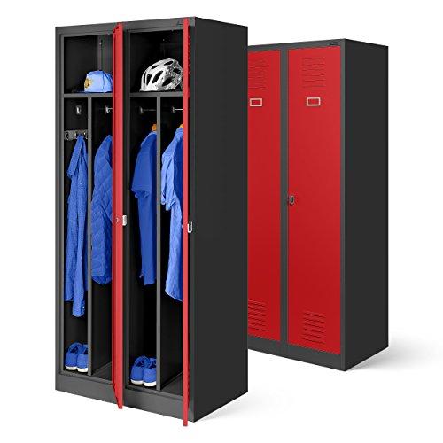 H x B x T grau//blau 2 Abteile Trennwand 180 cm x 60 cm x 50 cm/ Kleiderspind Stahlspind Garderobenschrank Spind Pulverbeschichtung Fl/ügelt/üren L/üftungsschlitzen