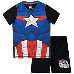Marvel Pijamas de Manga Corta para niños Capitán América Negro 3-4 Años