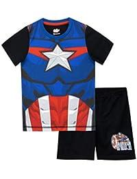 Marvel Pijamas de Manga Corta para niños Capitán América