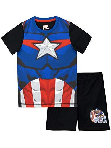 Marvel Jungen Captain America Schlafanzug Schwarz 128 (Captain Avengers-anzug America)