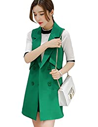 65a0d34debb YiLianDa Women s Fashion Sleeveless Long Vest Slim Fit Waistcoat Long Coats  Vest