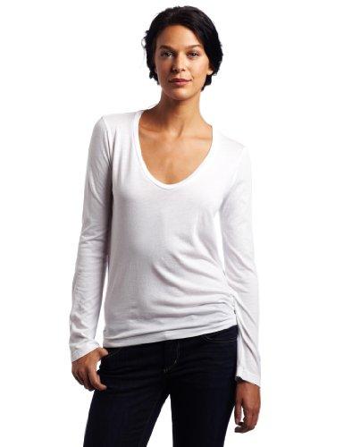 Splendid Light Jersey Ls Scoop Neck, Top Donna bianco (White)